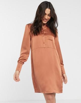 Vila satin shirt dress in copper