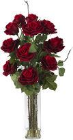 Asstd National Brand Nearly Natural Roses Silk Flower Arrangement with Cylinder Vase