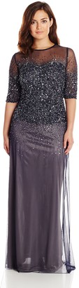 Adrianna Papell Women's Plus-Size 3/4 Sleeve Beaded Illusion Gown with Sweetheart Neckline