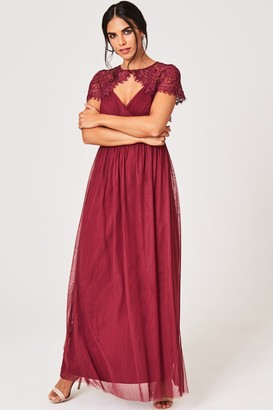 Little Mistress Lillian Dusty Wine Lace Keyhole Maxi Dress