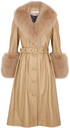 Saks Potts Foxy caramel fur-trimmed leather coat