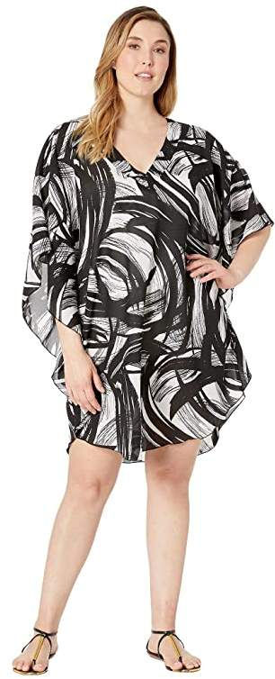 Maxine Of Hollywood Swimwear Plus Size Printed Tidal Wind Chiffon Caftan Cover-Up