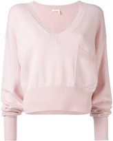 Chloé V-neck cropped sweater - women - Cotton/Cashmere - M