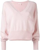 Chloé V-neck cropped sweater - women - Cotton/Cashmere - S