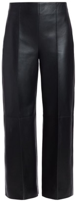 Oscar de la Renta Leather Wide-Leg Cropped Pants