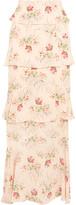 Vilshenko Jasmine Tiered Printed Silk-georgette Maxi Skirt - Baby pink