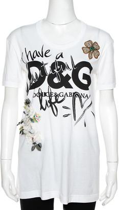 Dolce & Gabbana White Cotton 'Beautiful Life' Floral Applique T-Shirt XS