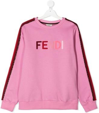 Fendi Kids TEEN side-stripe logo sweatshirt