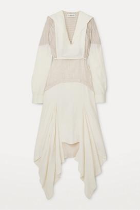 Lanvin Asymmetric Paneled Checked Gauze And Linen-blend Midi Dress - White