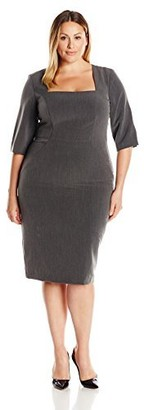 Single Dress Women's Plus Size Square Neck Elbow Sleeve Dress