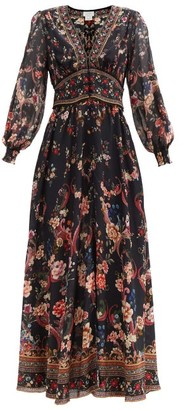 Camilla A Girl Like You-print Silk Maxi Dress - Black Print