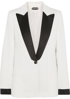 Tom Ford Satin-trimmed Cady Blazer - White