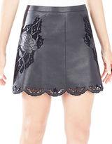 BCBGMAXAZRIA Jenhifer Embroidered Faux-Leather Mini Skirt