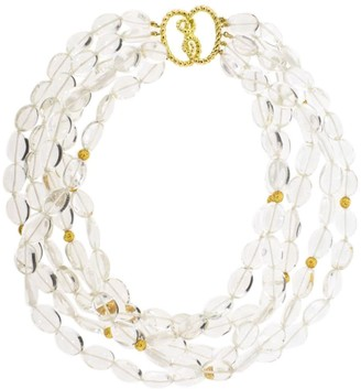 Verdura 18kt yellow gold crystal Torsade bead necklace