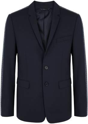 Fendi Navy Monogrammed Stretch-wool Blazer