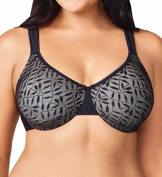 Olga Plus Size Women's Sheer Leaves Minimizer Bra
