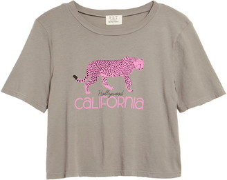 Project Social T California Cheetah Crop Graphic Tee