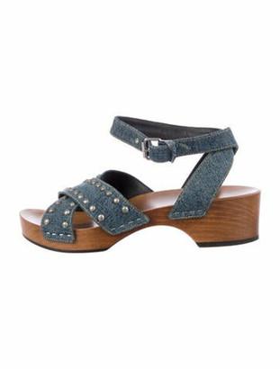 Saint Laurent Studded Accents Slingback Sandals Blue
