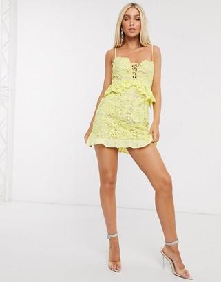 Love Triangle lace ruffle mini dress in lemon