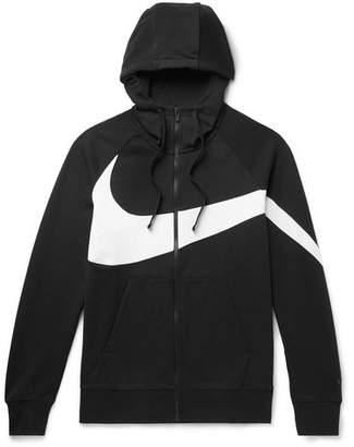 Nike Sportswear Logo-Print Fleece-Back Cotton-Blend Jersey Zip-Up Hoodie