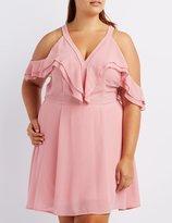 Charlotte Russe Plus Size Ruffle Cold Shoulder Dress