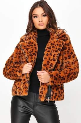 I SAW IT FIRST Brown Leopard Print Faux Fur Biker Jacket