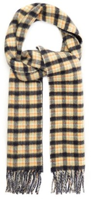 Gucci Checked Gg-jacquard Wool Scarf - Navy