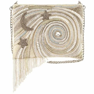 Mary Frances Ivory Galactic Beaded Crossbody Handbag