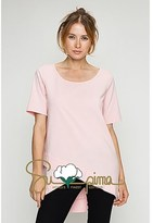 B-Sharp Collection Supima Cotton Tunic Casual Short Sleeve Pink Tops.