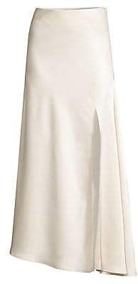 Significant Other Women's Lucine Front-Slit Maxi Satin Skirt
