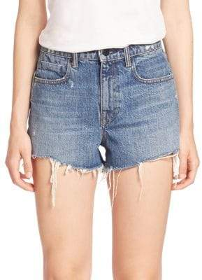 Alexander Wang T by Denim x Bite High-Rise Frayed Denim Shorts