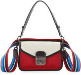 Longchamp Mademoiselle Colorblock Canvas Toile Small Crossbody Bag, Red