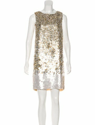 Oscar de la Renta Embellished Silk Dress w/ Tags White