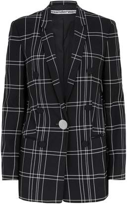 Alexander Wang Check Leather Sleeve Blazer