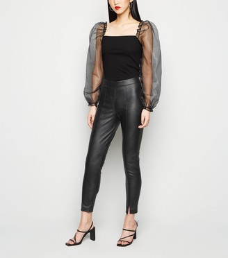 New Look Parisian Leather-Look Split Front Trousers