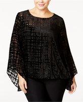 Alfani Plus Size Velvet Burnout Top, Only at Macy's