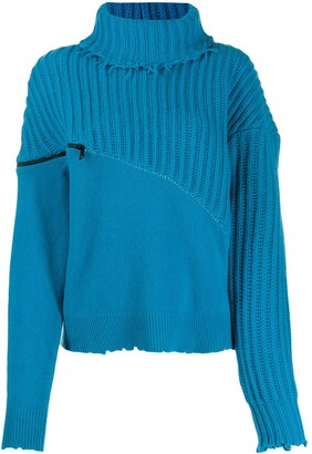 Unravel Project Roll Neck Zipped Jumper