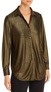T Tahari Metallic Button-Front Top