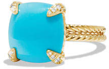 David Yurman Châtelaine 18k Gold 14mm Turquoise Ring w/ Diamonds, Size 7