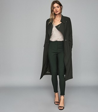 Reiss Emmie - Satin Longline Mac in Dark Green