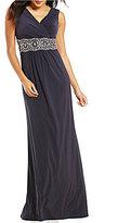 Alex Evenings Embellished-Waist Matte Jersey Gown