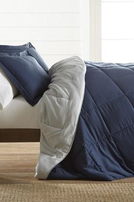 IENJOY HOME Treat Yourself To The Ultimate Down Alternative Reversible 3-Piece Comforter Set - Navy - Queen