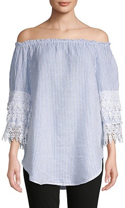 Saks Fifth Avenue Off-The-Shoulder Striped Lace Linen Blouse