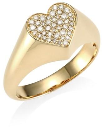 Sydney Evan 14K Yellow Gold & Pave Diamond Heart Signet Ring