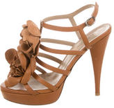 Valentino Floral-Embellished Platform Sandals