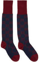 Gucci Navy and Red Long Gg Socks