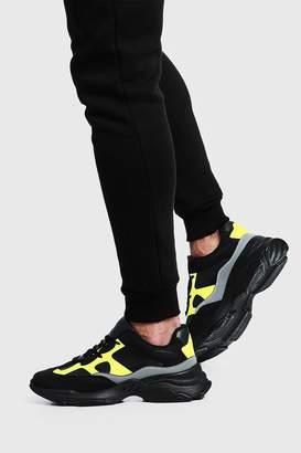 boohoo Neon & Reflective Chunky Sneaker