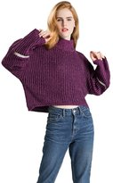 Chickle Women's Turtleneck Loose Sleeves Knit Short Pullover Sweater