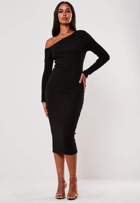 Missguided Black Rib Off Shoulder Bodycon Midi Dress