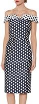 Gina Bacconi Trinity Jacquard Spot Dress, Navy/White